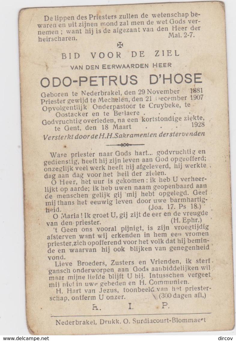 Berlare - Aandenken Van Odo-Petrus D'Hose, Onderpastoor Te Kruibeke En Berlare, Er Overleden In 1928 - Religión & Esoterismo