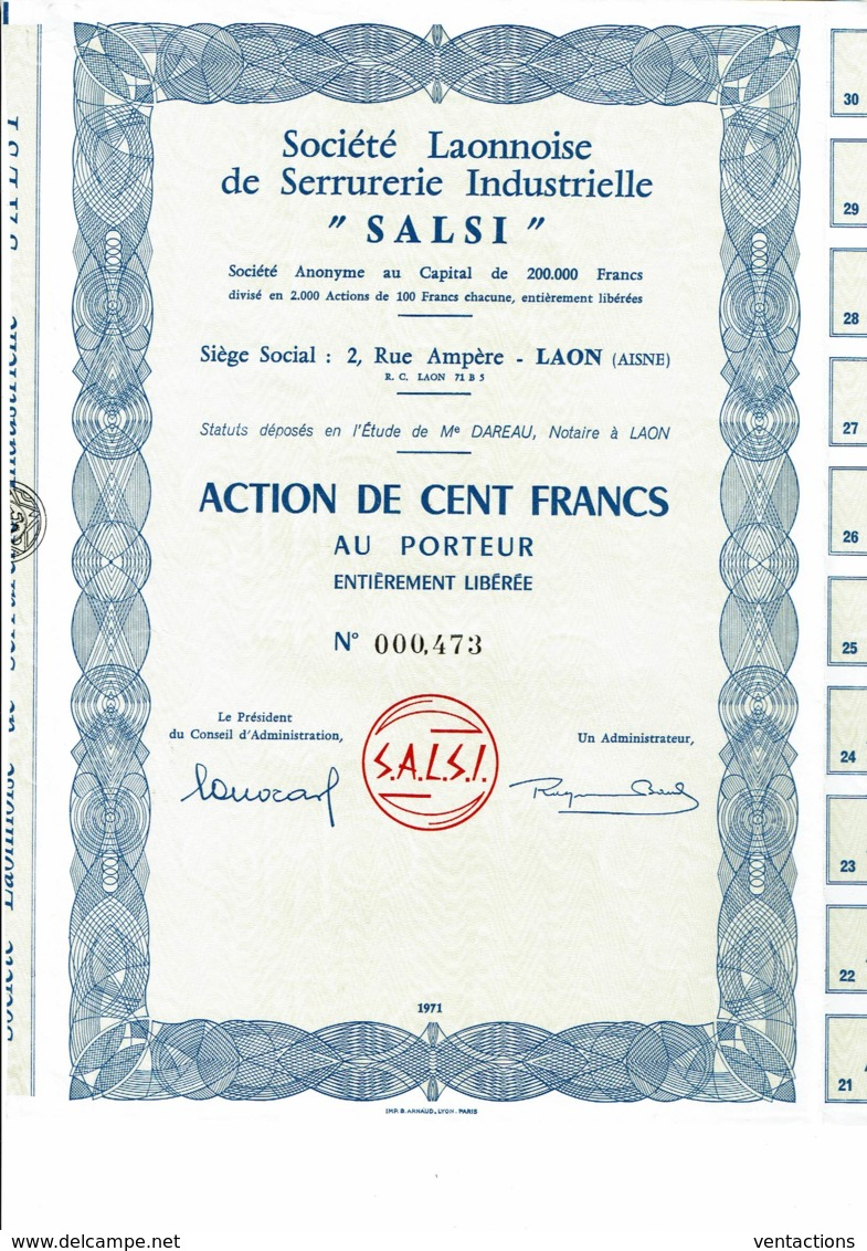 "02-LAONNAISE DE SERRURERIE INDUSTRIELLE ""SALSI"". LAON. Capital 200 00 F - Aandelen"