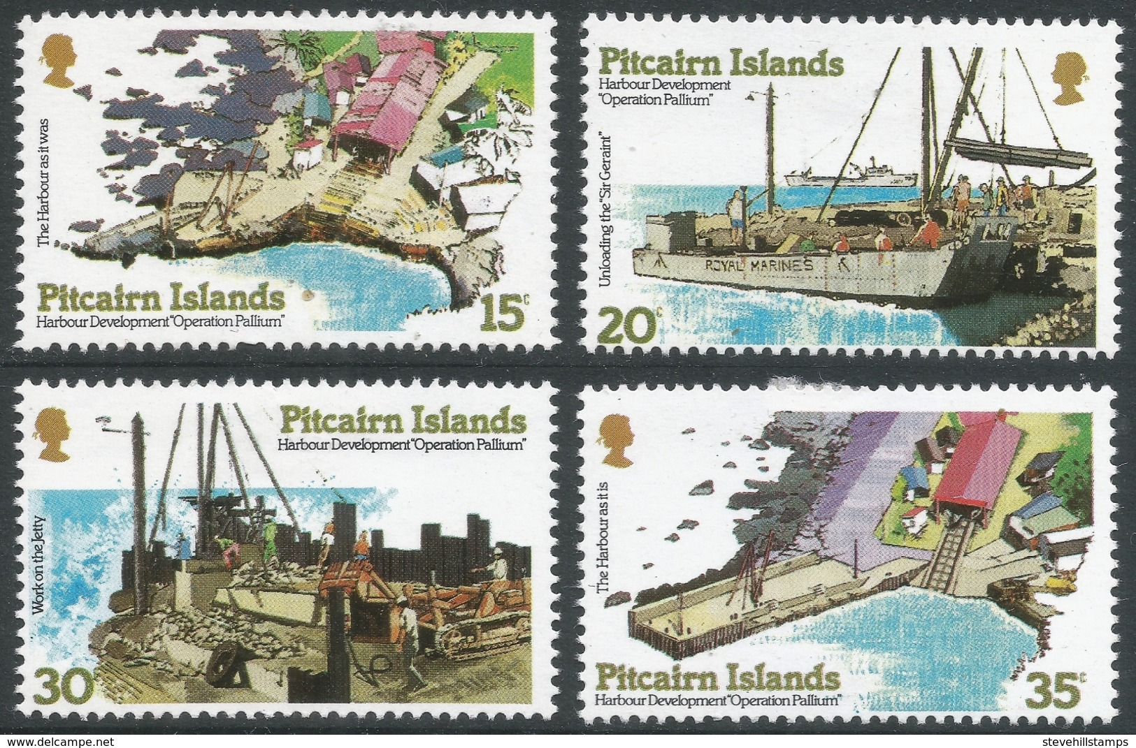 """Pitcairn Islands. 1978 """"Operation Pallium"""" (Harbour Development Project) . MH Complete Set. SG 190-193 - Stamps"""