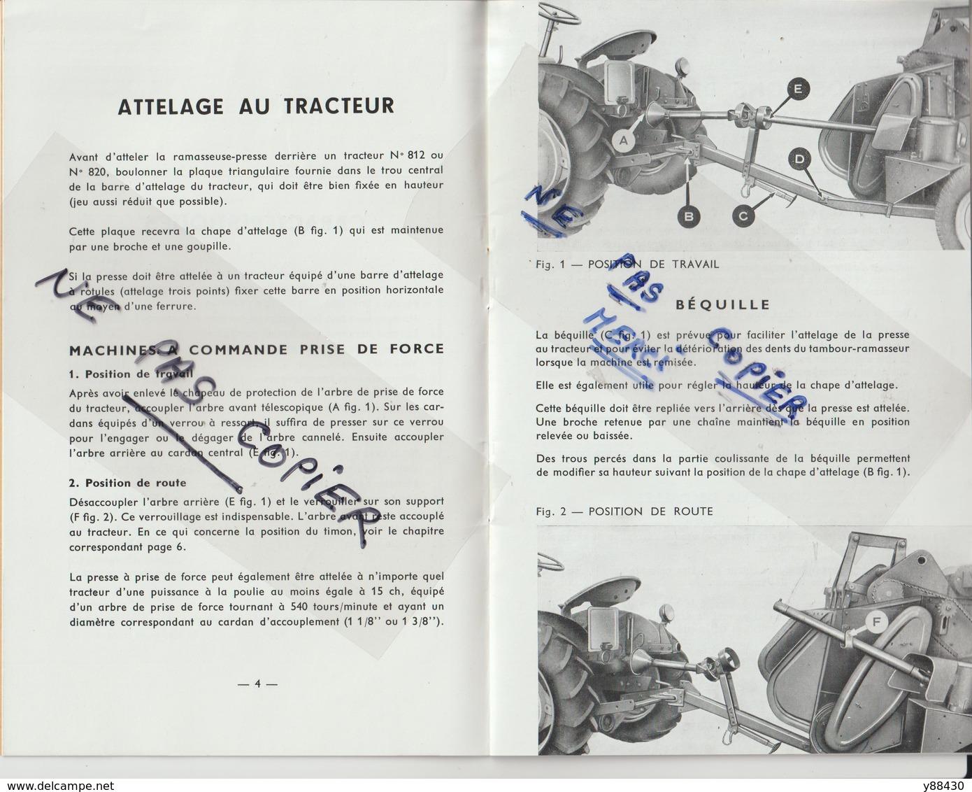 Livret Pour RAMASSEUSE PRESSE N°801 Des Années 50 - MASSEY  FERGUSON - 28 Pages - 15 Scan. - Machines
