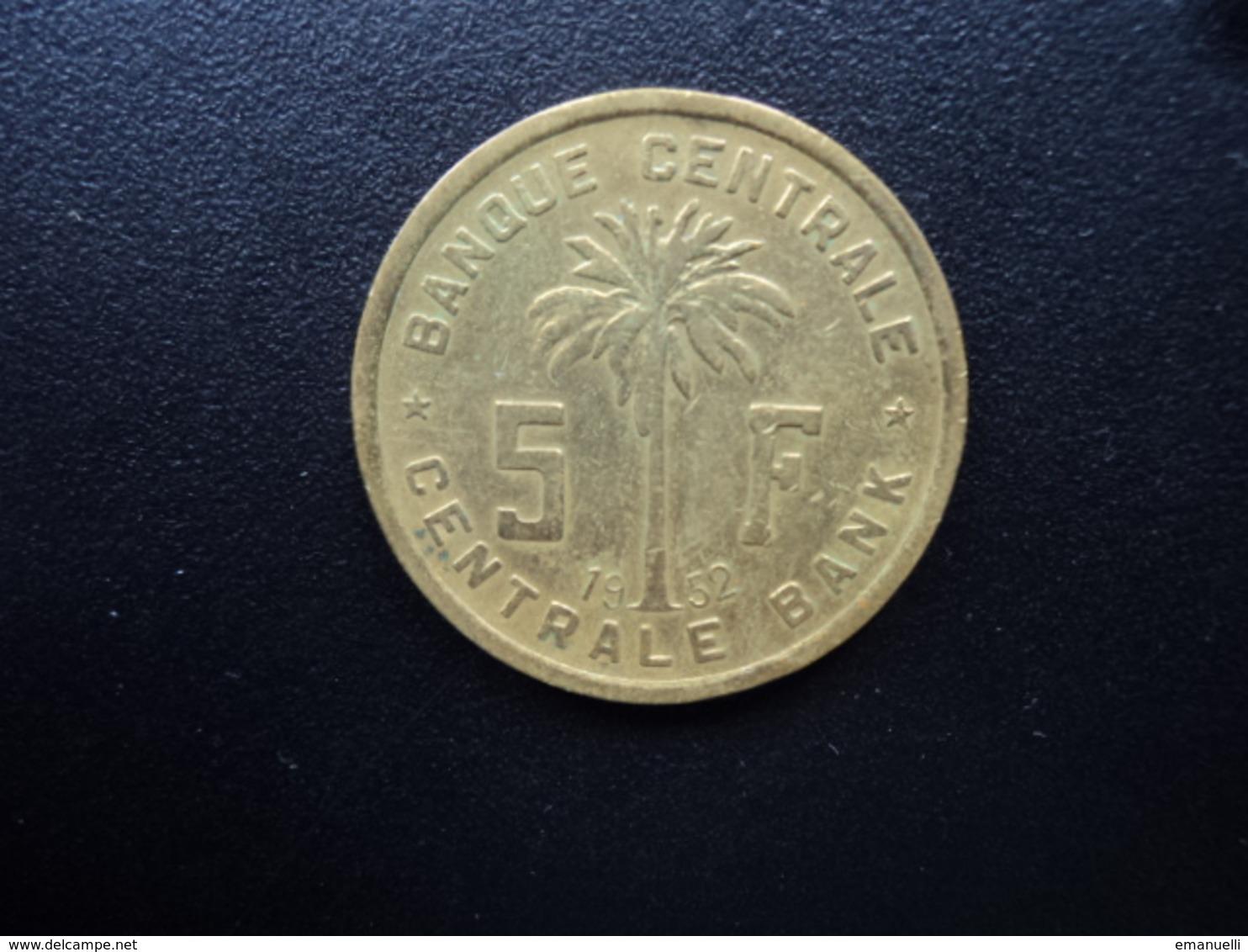 CONGO BELGE - RUANDA URUNDI : 5 FRANCS   1952    KM 1      TTB - Belgisch-Kongo & Ruanda-Urundi