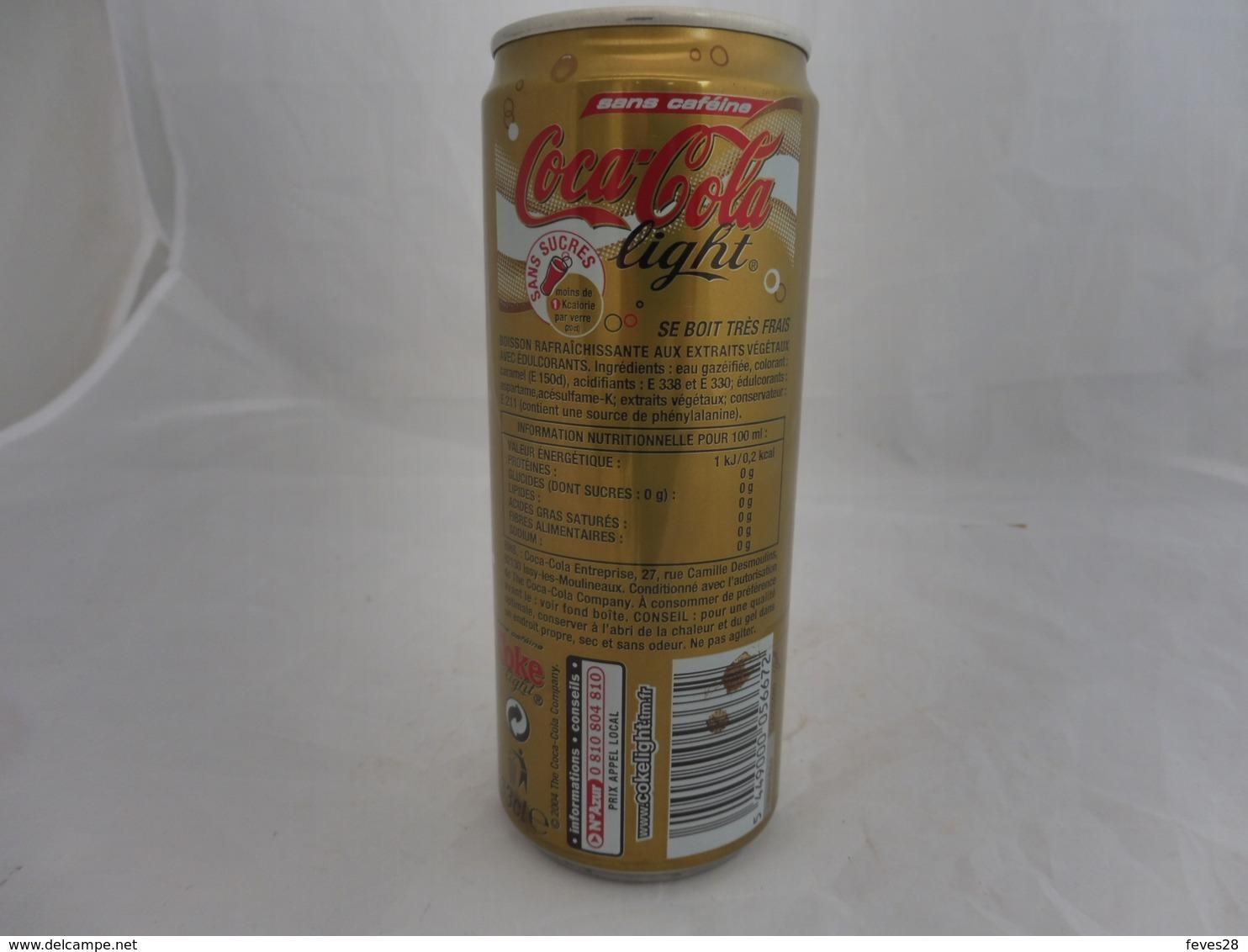 COCA COLA® LIGHT SANS CAFEINE CANETTE VIDE 2006 FRANCE 33 Cl - Cannettes