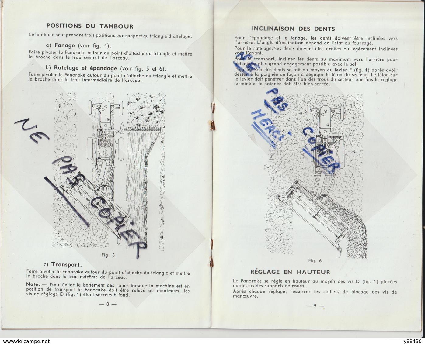 Livret Pour  FANORAKE . FANAGE RATELAGE & EPANDAGE  Des Années 50 - MASSEY HARRIS FERGUSON - 14 Pages - 9 Scan - Máquinas