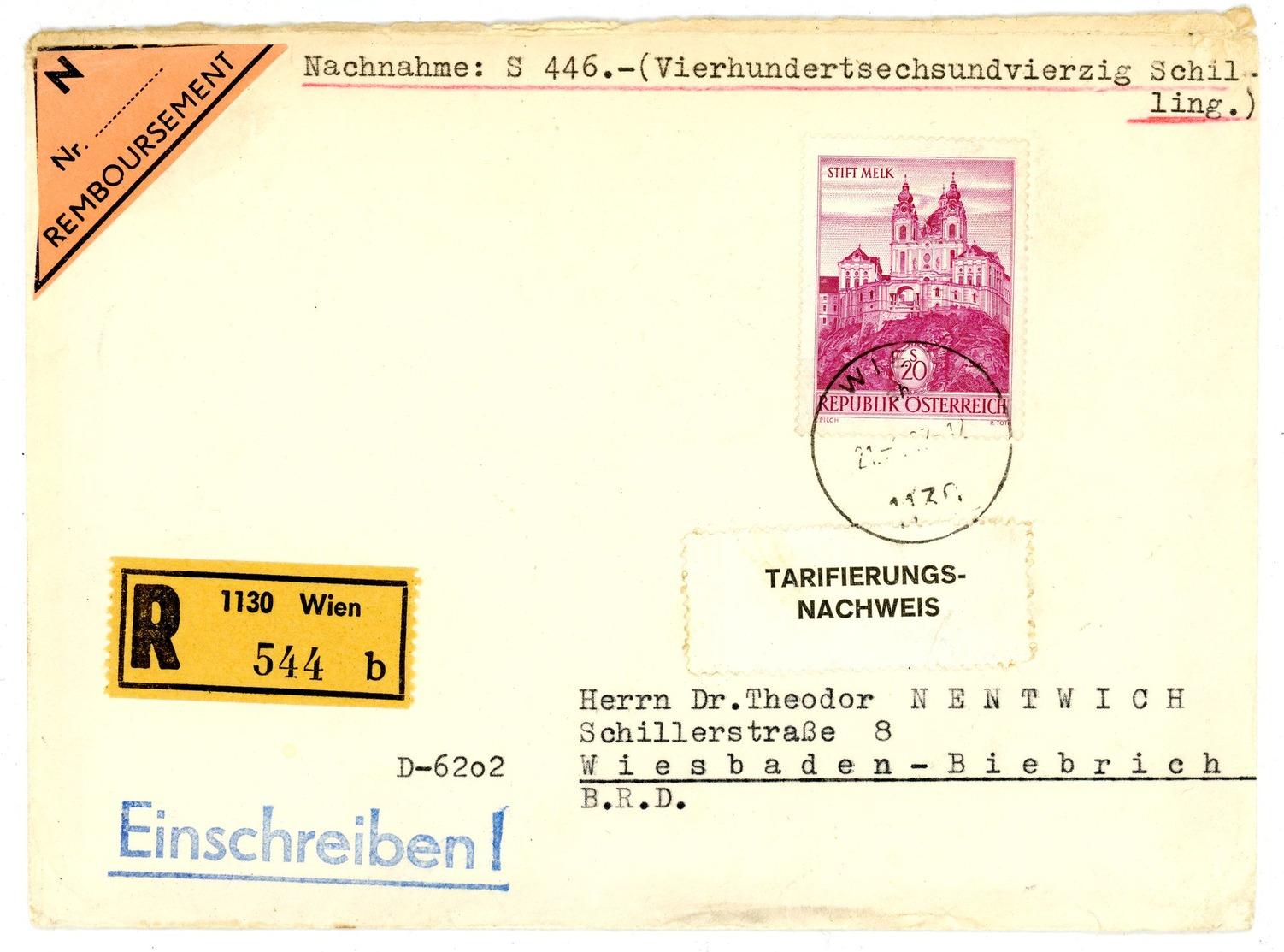 Nr. 1128 EF Einschreiben / Nachnahme Nach Wiesbaden über 446 Schilling - 1945-.... 2. Republik
