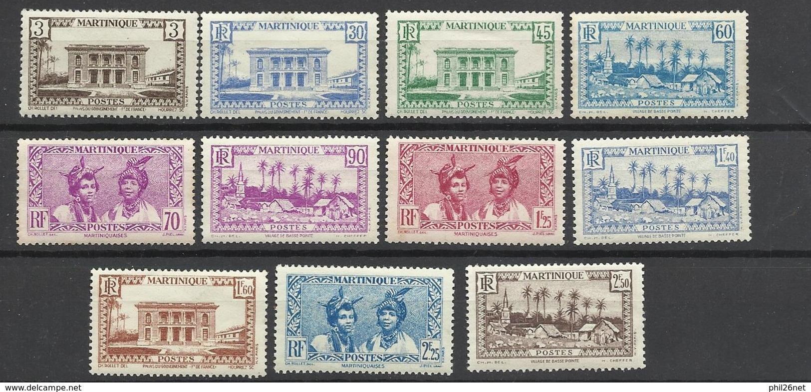 Martinique Poste N°175  à 185    Neufs * *  Et Neufs  *   B/ TB               Soldé à  Moins De 20 %  ! ! ! - Martinique (1886-1947)