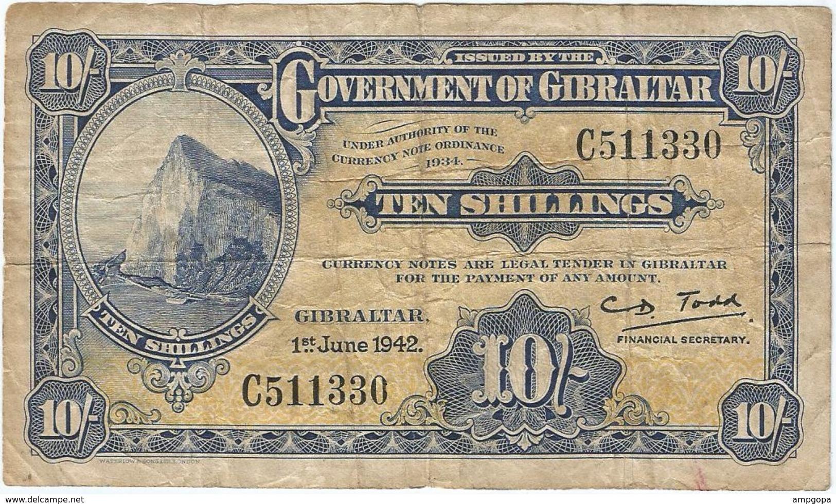 Gibraltar 10 Shillings 1-6-1942 Pk 14 B.1 Ref 1 - Gibraltar