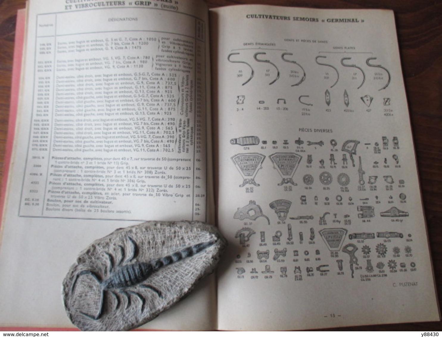 Livret Pour PIECES DE RECHANGES  Machines Agricole - Ets. C. PUZENAT à BOURBON LANCY - Année 1952 - 52 Pages - 21 Photos - Máquinas