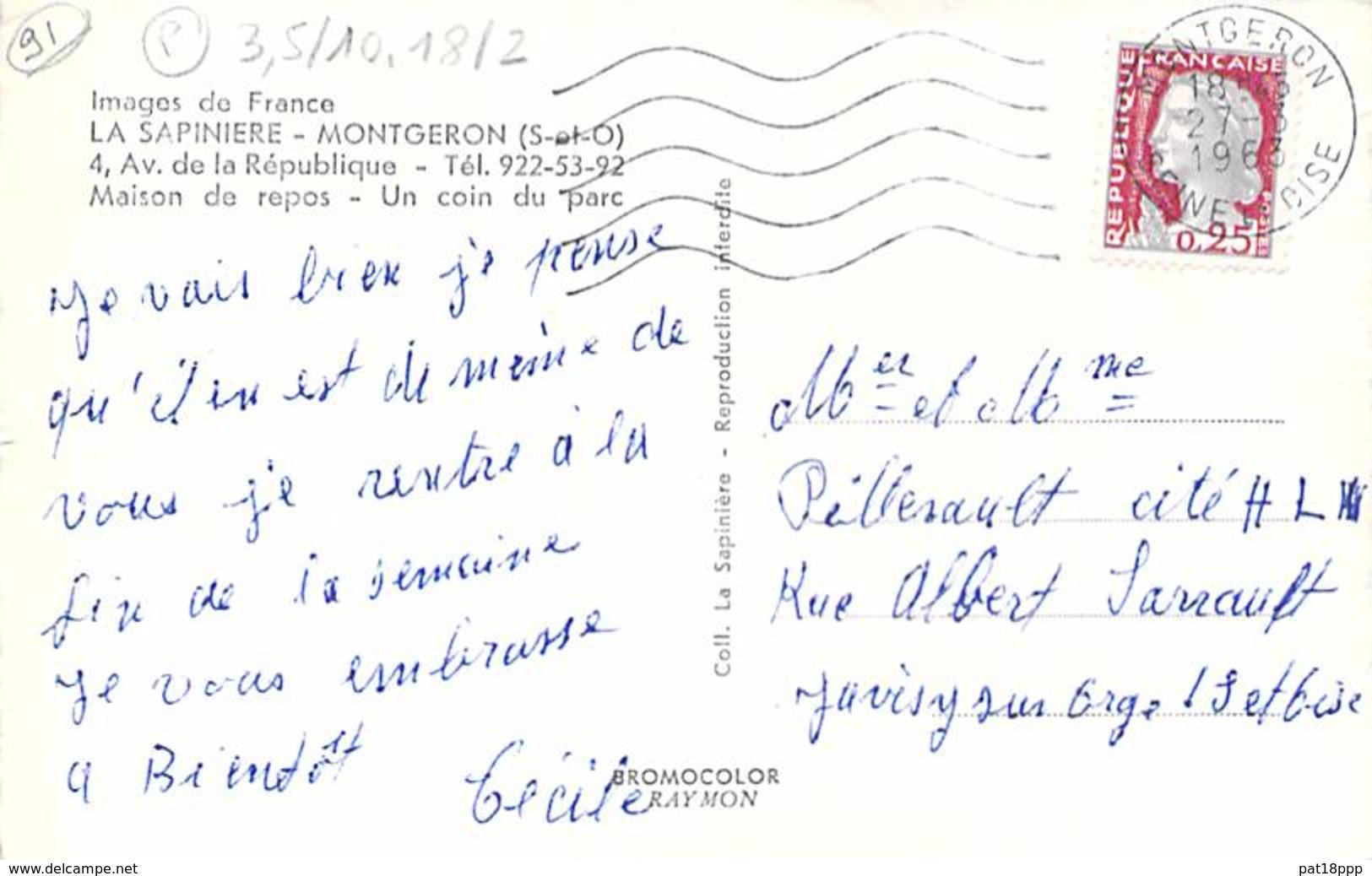 91 - LA SAPINIERE MONTGERON : Maison De Repos - Un Coin Du Parc - Jolie CPSM Dentelée Format CPA 1963 - Essonne - Montgeron