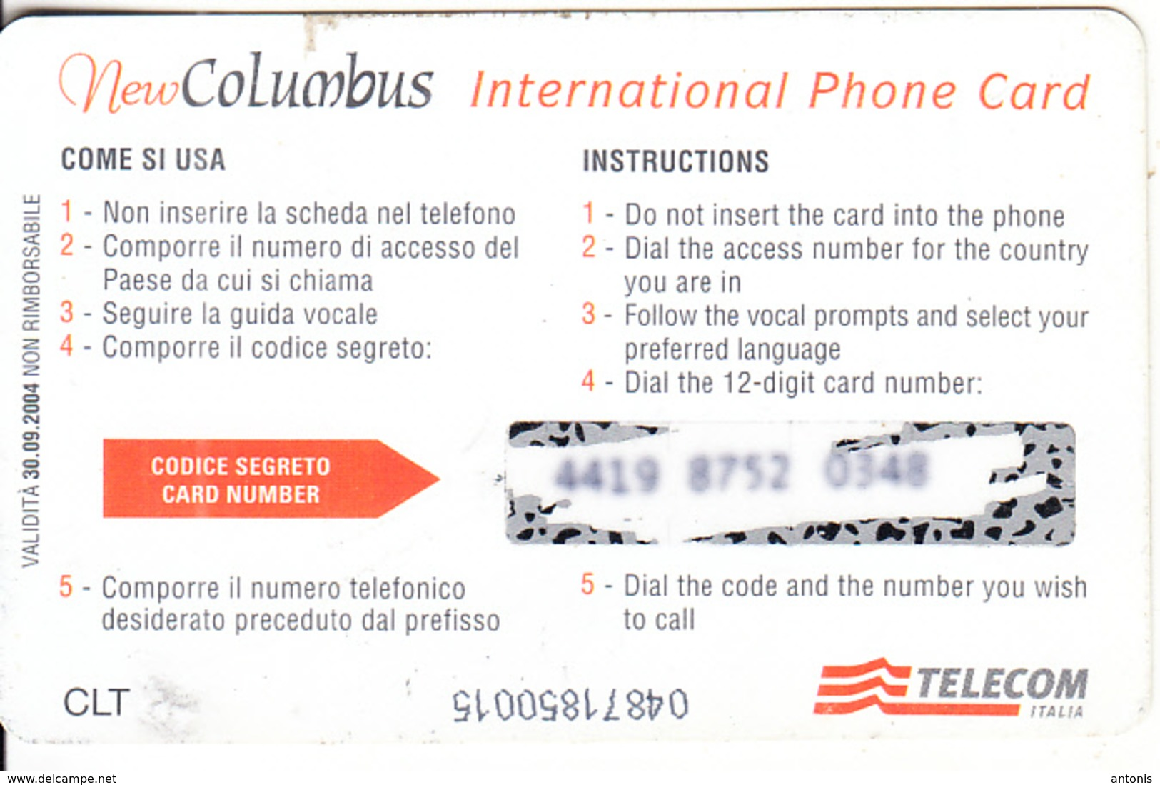 ITALY - New Columbus, Telecom Italia Prepaid Card 12 Euro, Exp.date 30/09/04, Used - Italie