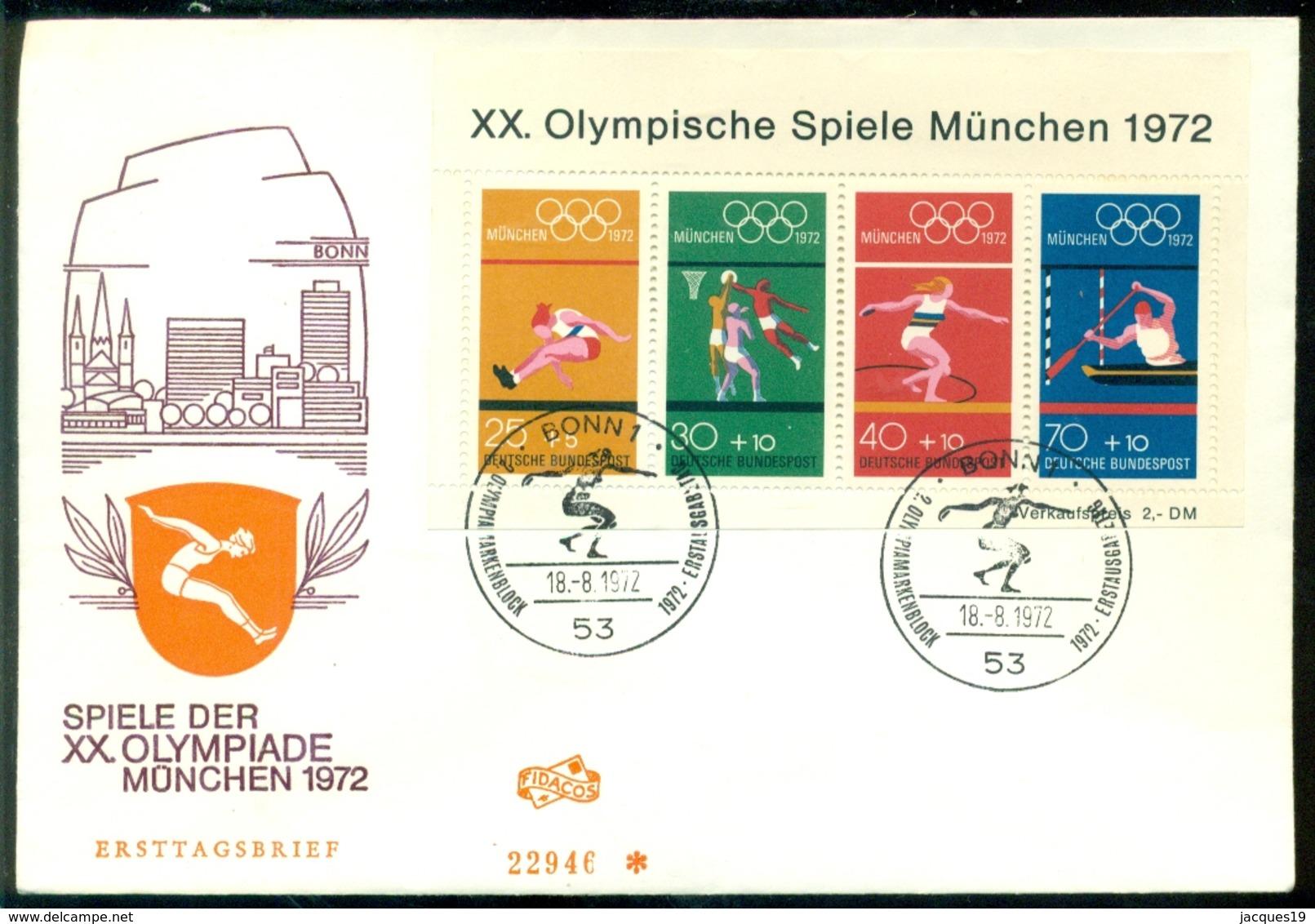Deutschland 1972 FDC Olympische Spiele München Block Mi 8 - FDC: Sobres