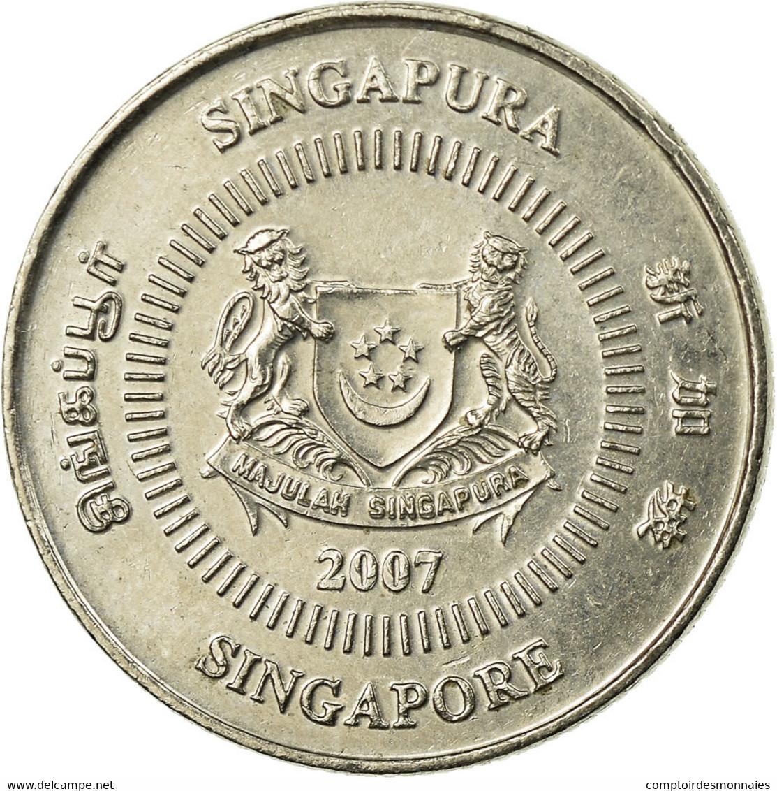 Monnaie, Singapour, 10 Cents, 2007, Singapore Mint, TTB, Copper-nickel, KM:100 - Singapour