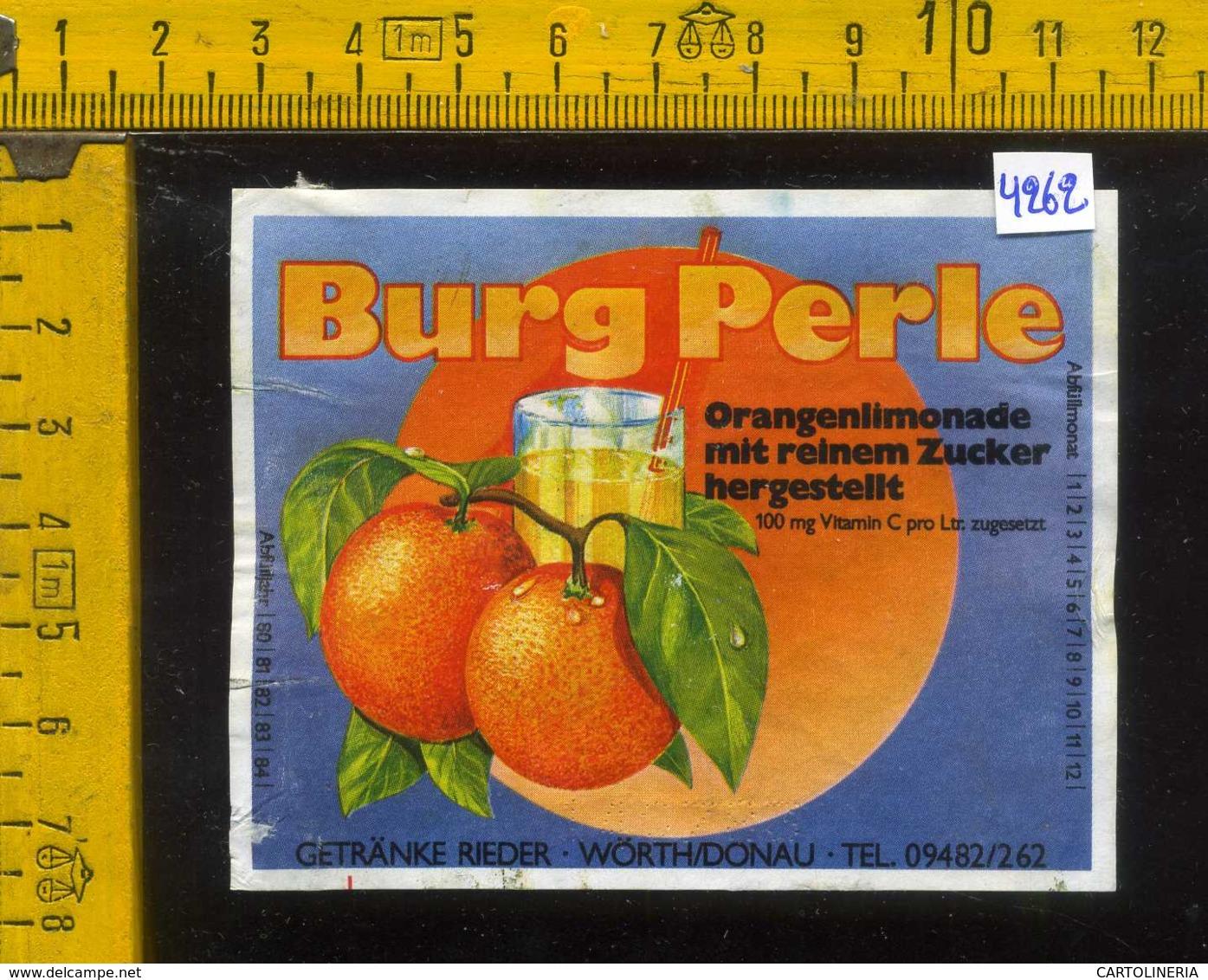 Etichetta Bibita Analcolica Orangen-Limonade Burg Perle - Germania - Altri
