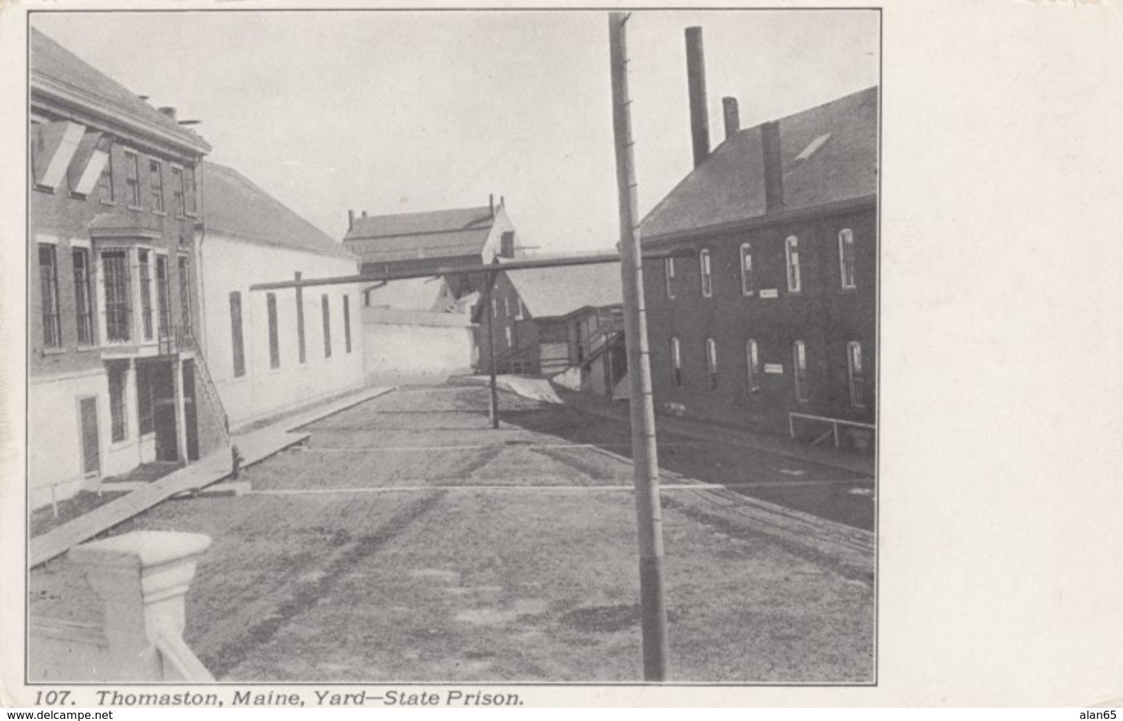State Prison In Thomaston Maine, Prison Yard C1900s Vintage Postcard - Prison