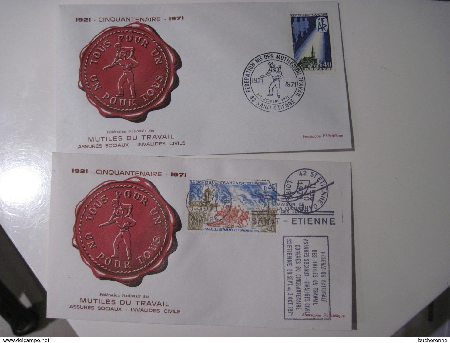 2 ENVELOPPES 1921 Cinquantenaire 1971  Fédération Nationale Des Mutilés  -un Pour Tous Tous Pour Un  1971 TBE - Marcophilie (Lettres)
