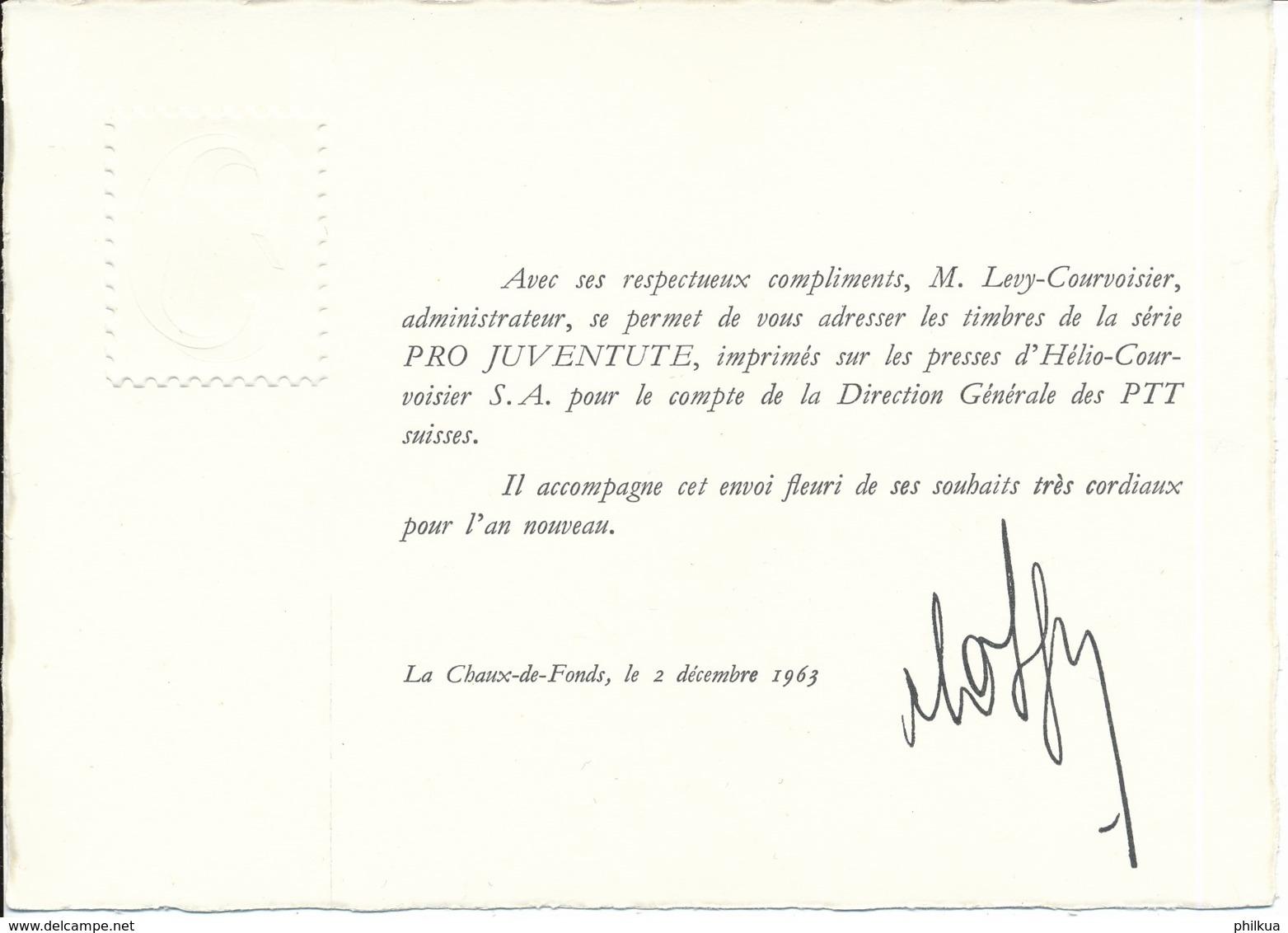 1962 Pro Juventute Vorlage Geschenkheft Von Courvoisier S.A. La Chaux De Fonds - Lettres & Documents