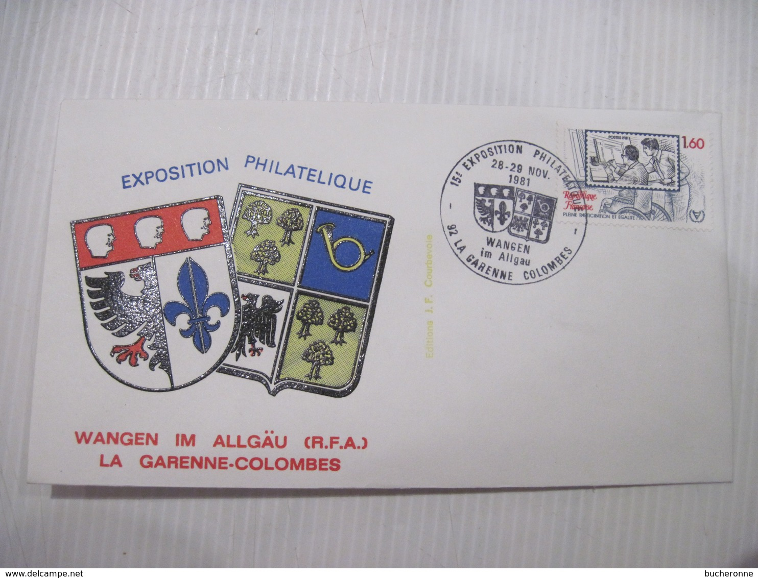 ENVELOPPE EXPOSITION  PHILATELIQUE LA GARENNE COLOMBES WANGEN IM ALLGAU (RFA) 1981 TBE - 1961-....
