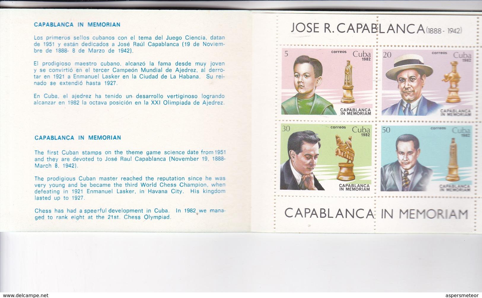 CUBA. CAPABLANCA IN MEMORIAM. BOOKLET AJEDRES CHEZ YEAR 1942 - BLEUP - Scacchi