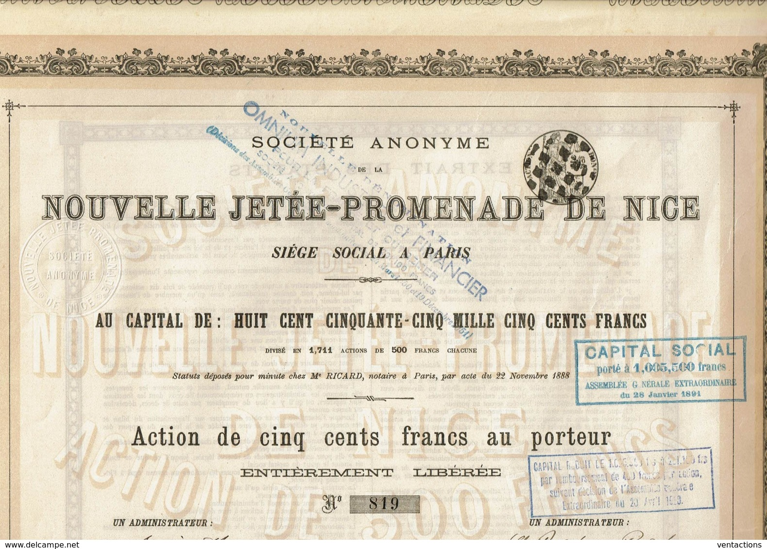 06-NOUVELLE JETEE-PROMENADE DE NICE. OMNIUM INDUST & FINANCIER FRANCE & OUTREMER - Shareholdings