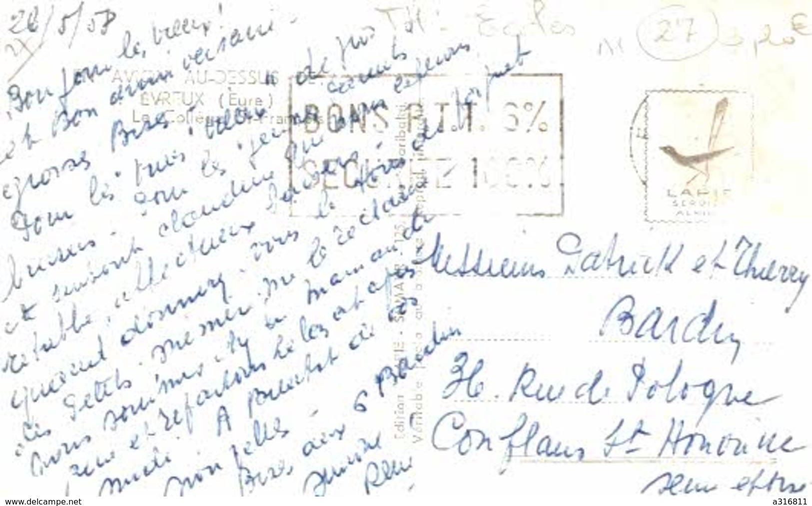 EN AVION AU DESSUS D EVREUX LE COLLEGE ST FRANCOIS - Evreux