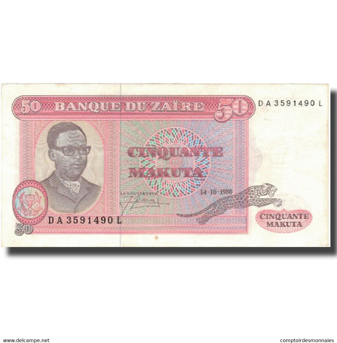 Billet, Zaïre, 50 Makuta, 1980, 1980-10-14, KM:17b, TTB+ - Zaïre