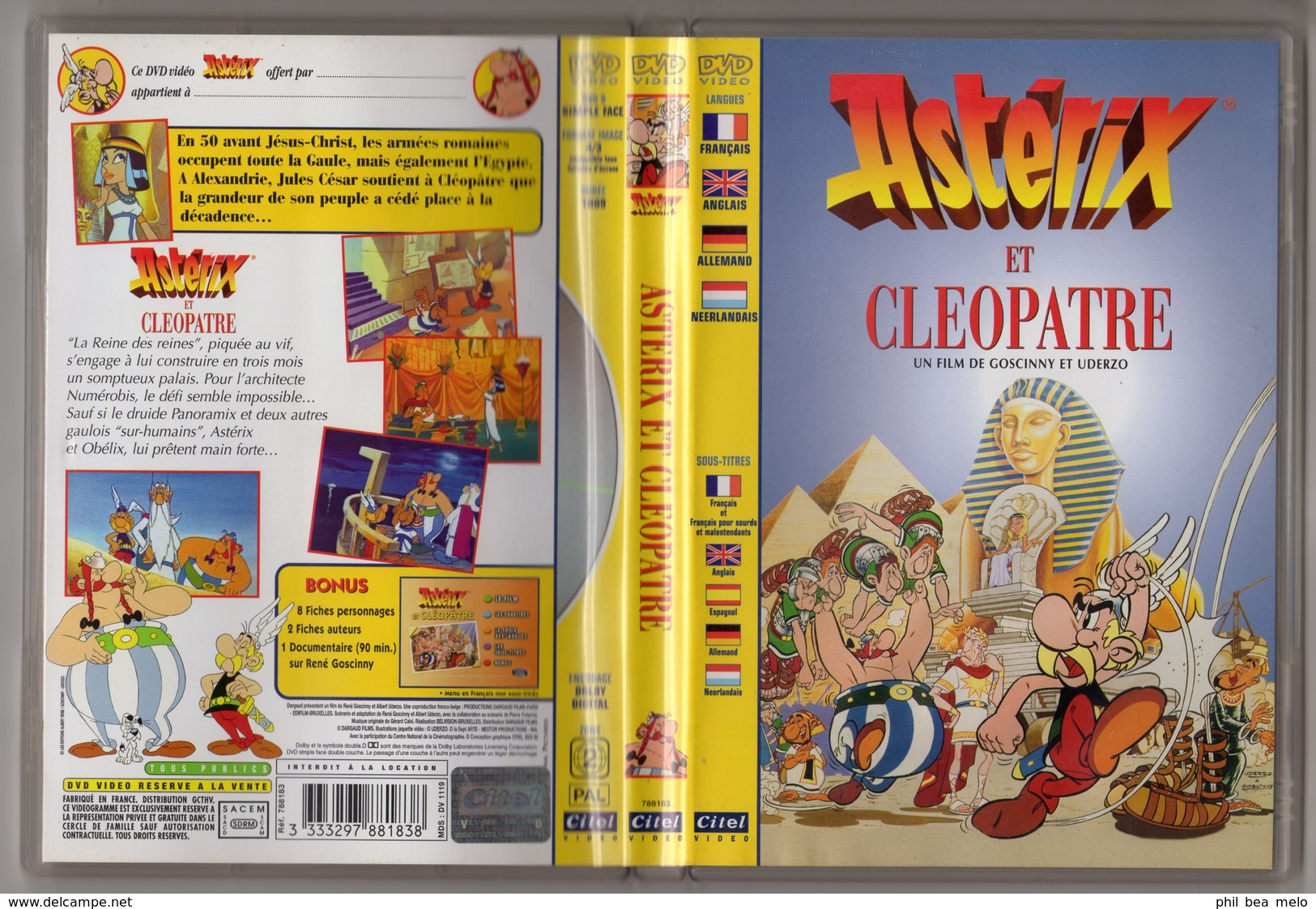 CINEMA - LOT 3 DVDs - ASTERIX LE GAULOIS - ASTERIX ET CLEOPATRE - LES 12 TRAVAUX - VOIR PHOTOS ET DESCRIPTIONS - Dessin Animé