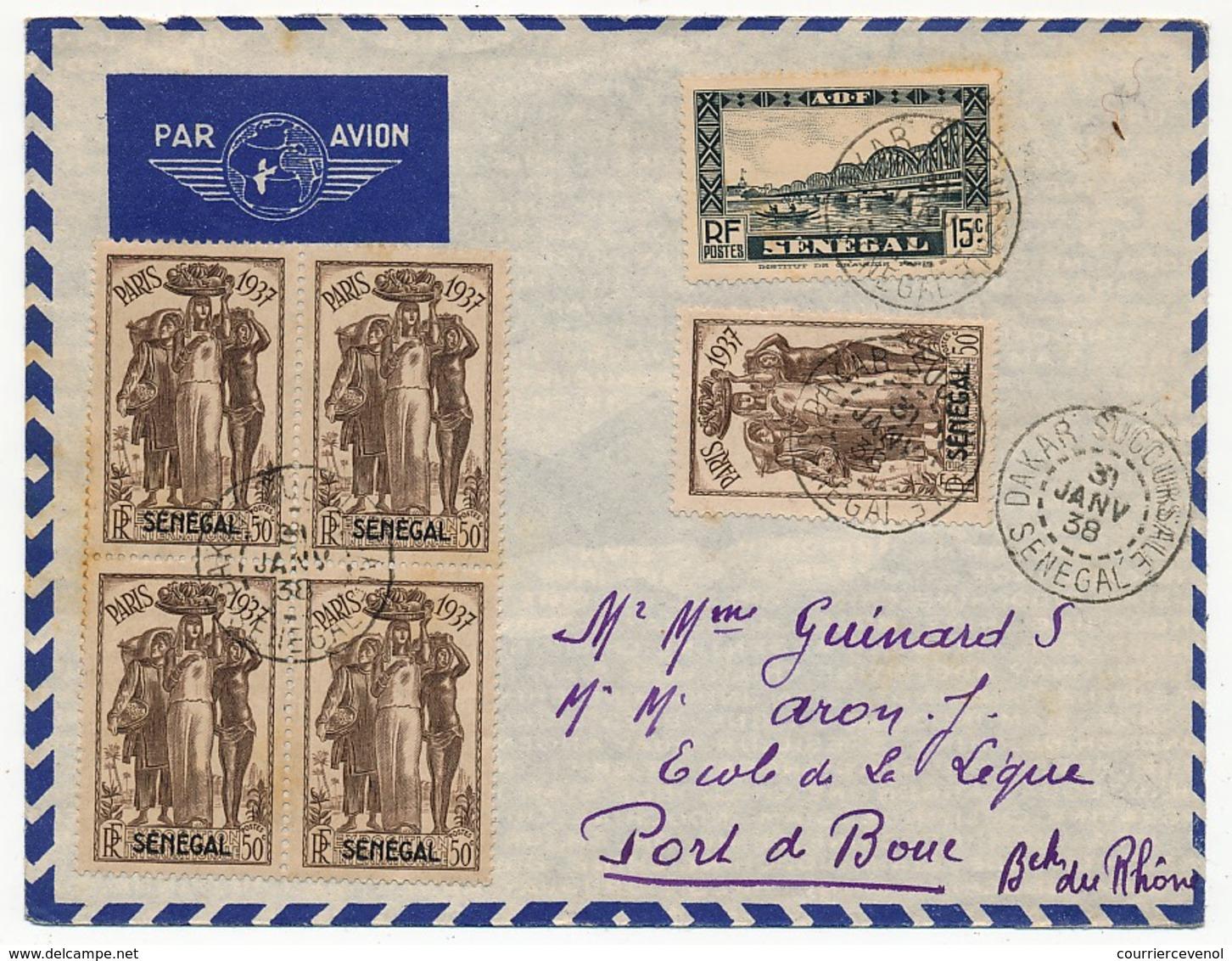 SENEGAL - Belle Enveloppe Affr. Composé Dont 50c Exposition Internationale De Paris 1937 X5 - Dakar Sucoursale 1938 - Sénégal (1887-1944)
