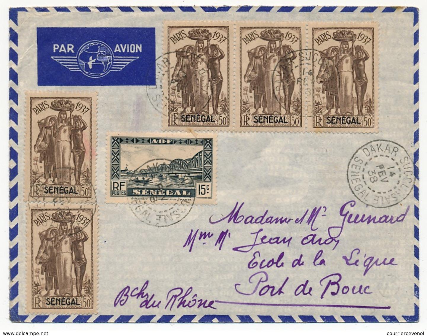 SENEGAL - Belle Enveloppe Affr. Composé Dont 50c Exposition Internationale De Paris 1937 X5 - Dakar Sucoursale 1938 - Lettres & Documents