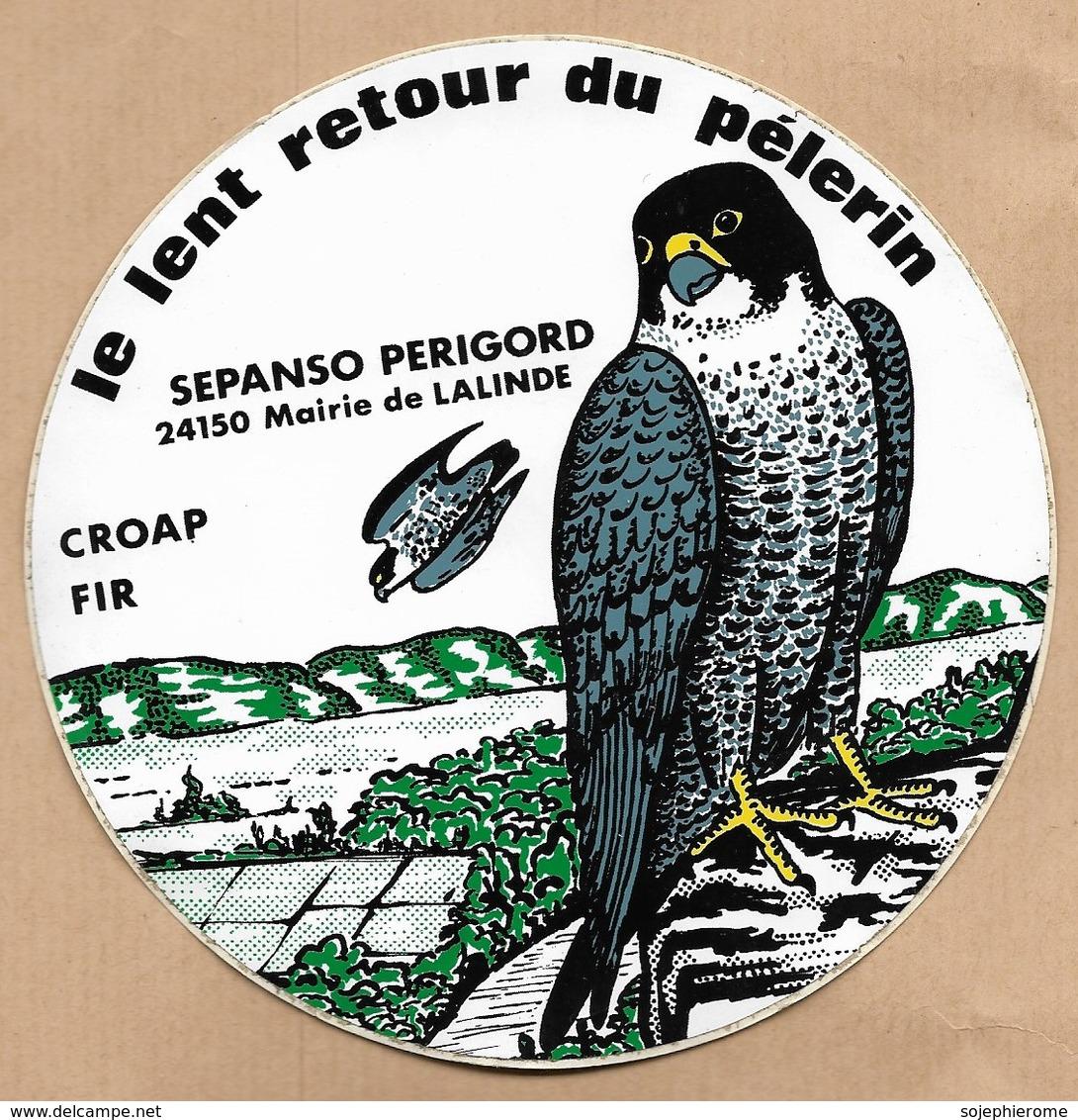 Autocollant Lalinde (24) CROAP FIR SEPANCO Périgord Le Lent Retour Du ( Faucon ) Pélerin 2 Scans (falcon) - Vieux Papiers