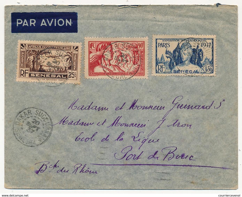 SENEGAL - Belle Enveloppe Affr. Composé Dont 90c Et 1,50 Exposition Internationale De Paris - Dakar Sucoursale 1937 - Sénégal (1887-1944)