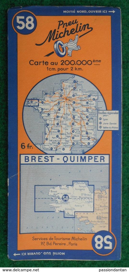 Carte Michelin N° 58 - Brest - Quimper - Années 1940 - Cartes Routières