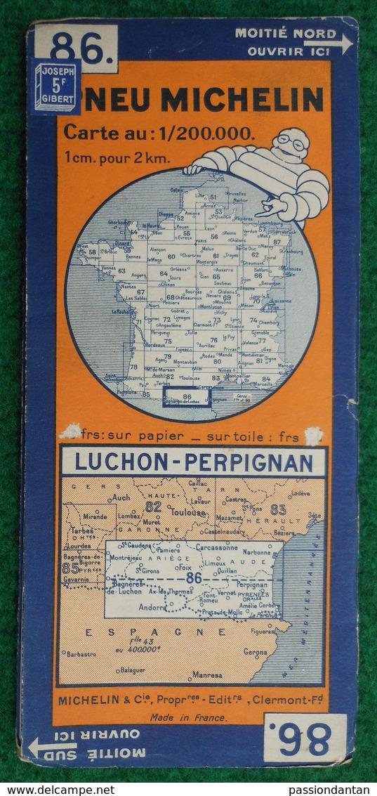 Carte Michelin N° 86 - Luchon - Perpignan - Années 1940 - Cartes Routières