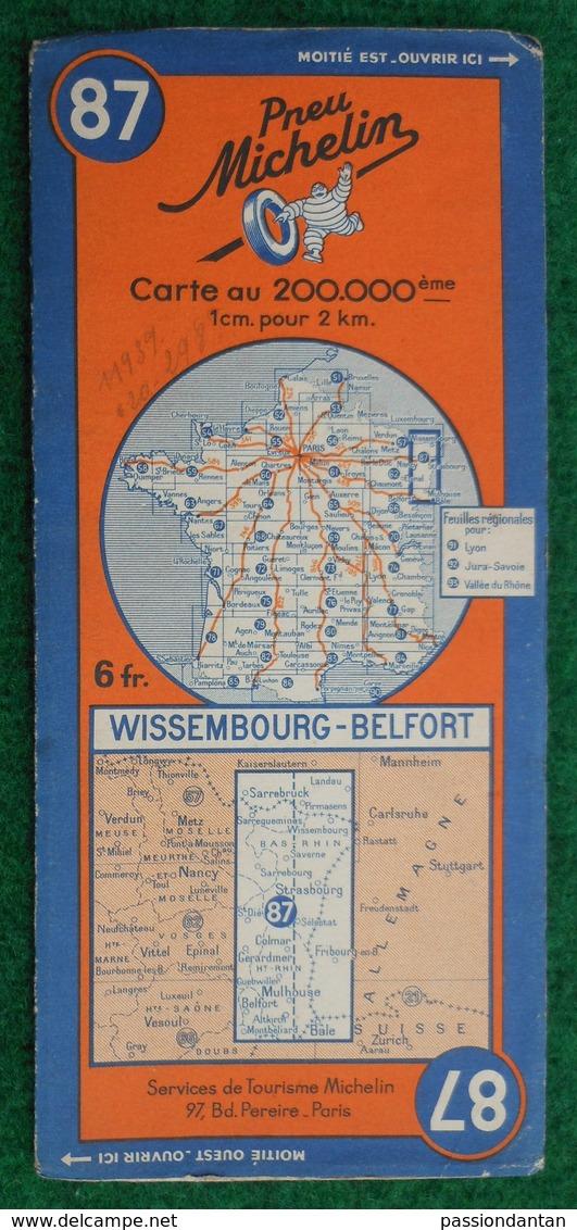 Carte Michelin N° 87 - Wissembourg - Belfort - Années 1940 - Cartes Routières