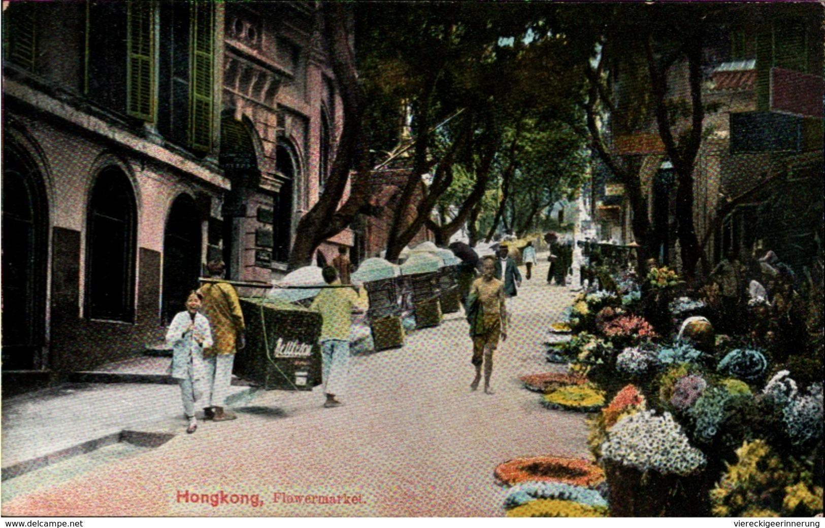 ! Old Postcard Hongkong Flowermarket, Hong-Kong - China (Hongkong)