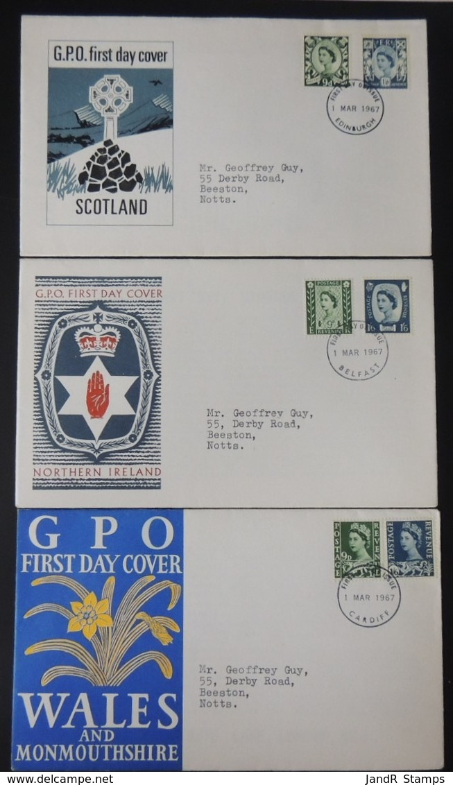 GB 1967 QEII FDC 3 Official Illustrated Covers Regionals First Day Cover - FDC