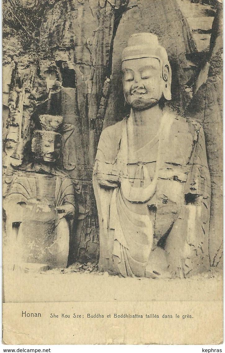 CHINE - CHINA -  HONAN - She Kou Sze Buddha Et Boddhisattva Taillés Dans Les Grés - Cachet De La Poste 1922 - China
