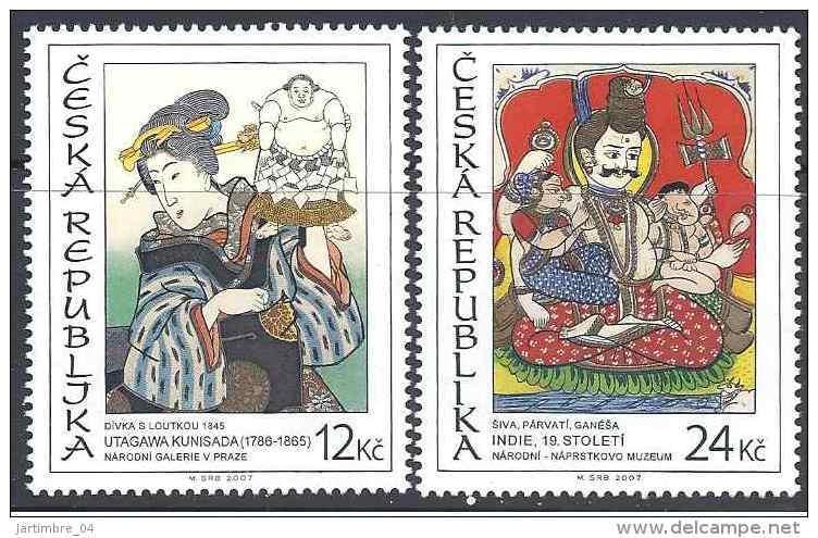 2007 Rép TCHEQUE 459-60** Art Asiatique, Japon, Inde - Tchéquie