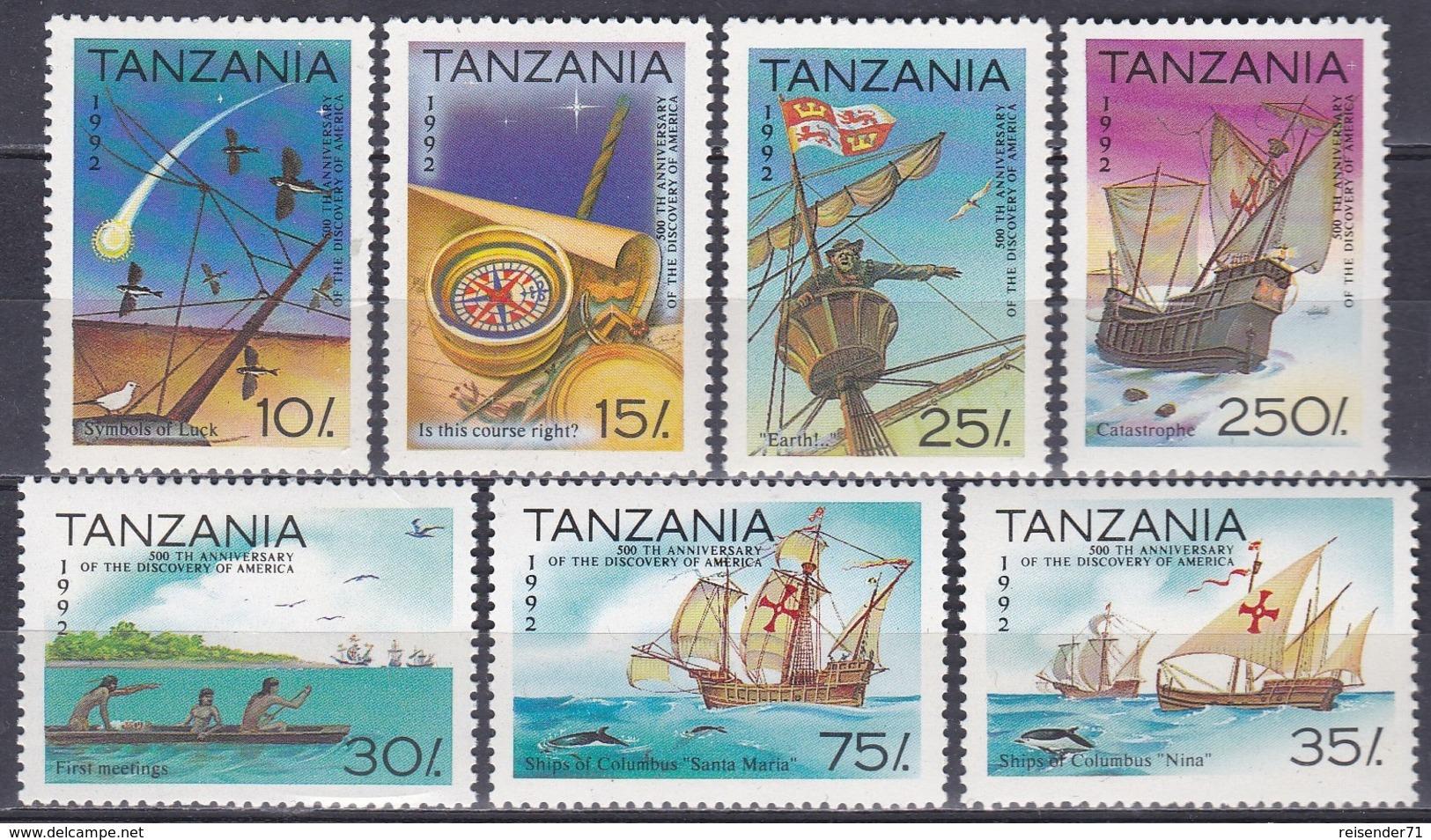 Tansania Tanzania 1992 Geschichte History Entdeckungen Discovery Kolumbus Columbus Schiffe Ships Kompass, Mi. 1298-4 ** - Tansania (1964-...)