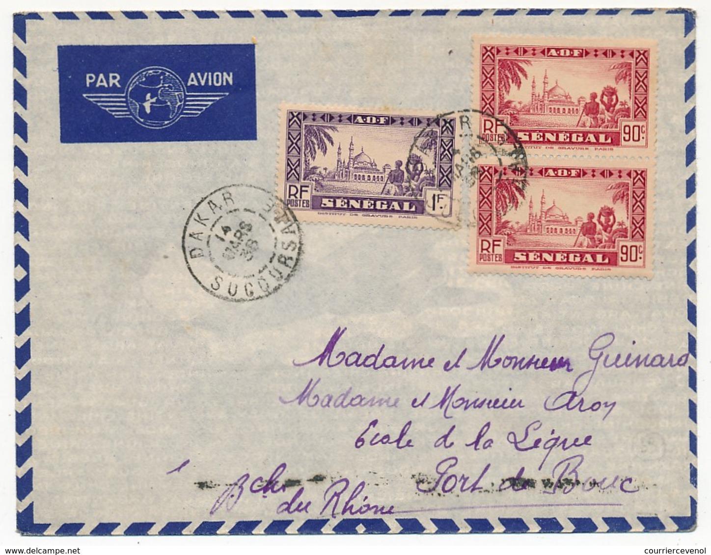 SENEGAL - Belle Enveloppe Affr. Composé - Dakar Sucoursale 1938 - Sénégal (1887-1944)