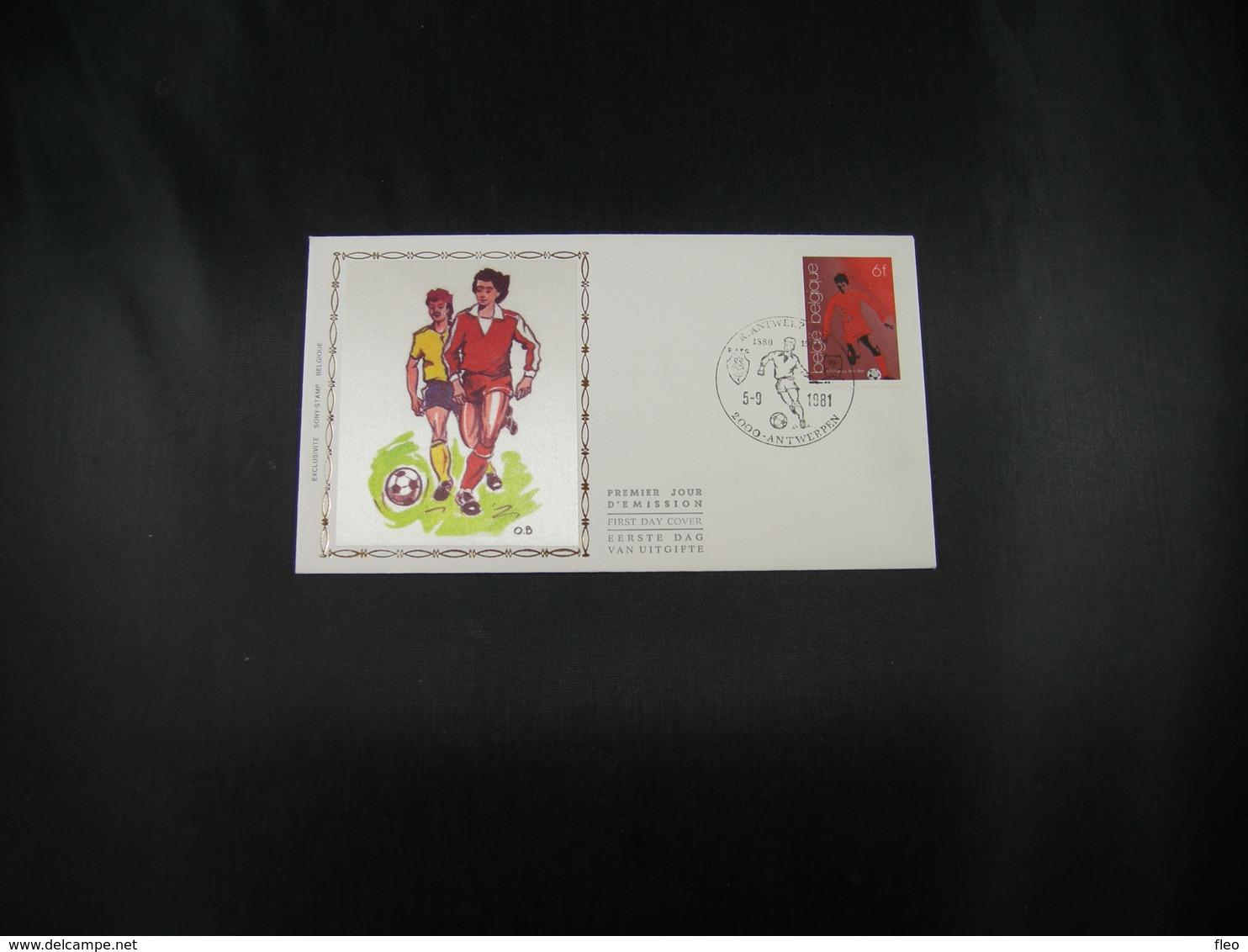 """BELG.1981 2014 FDC Soie/zijde (Antw.)  : """" 100 Jaar Voetbal In Belg./Centenaire Du Premier Club De Football En Belg. """" - FDC"""