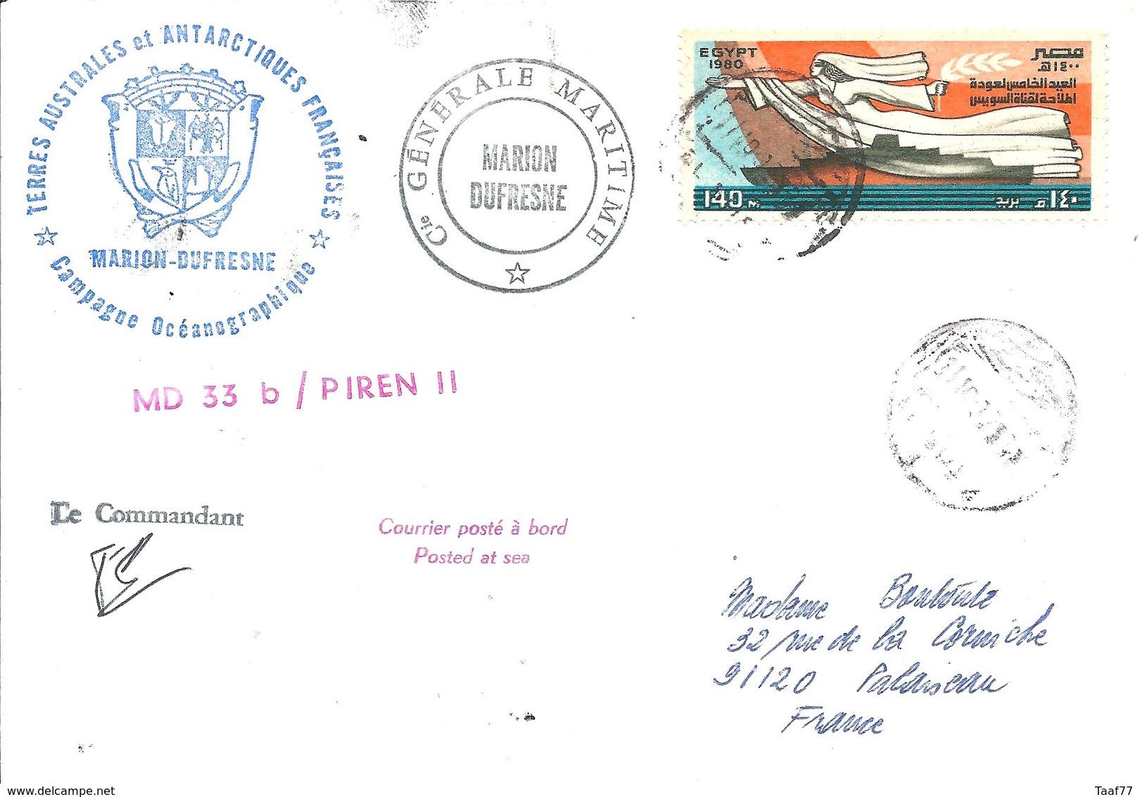 """TAAF - Lettre """"Marion Dufresne"""" Avec Egypte N°1119 Réouverture Du Canal De Suez + Cachet Manuel EL SUEZ - 11/10/1982 - Lettres & Documents"""