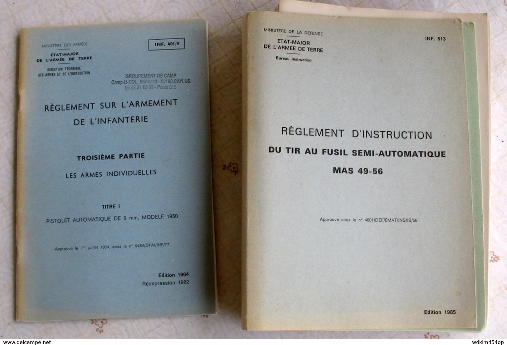 LOT 2 INF Sur L'armement - FUSIL FSA  MAS 49/56  &  PA 9mm  Mle 50 / MAC 50 - - Livres, Revues & Catalogues