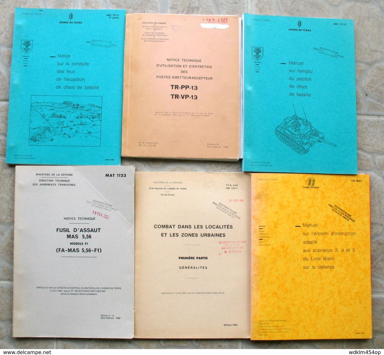 LOT MILITAIRE INF MAT Armement  FAMAS ABC CHARS De BATAILLE TRPP13 VP13 CBT ZONES LOCALITE & URBAINES..... - Livres, Revues & Catalogues