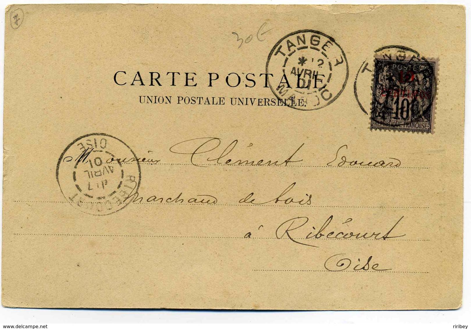 TP SAGE Surchargé 10 Centimos Maroc Sur CPA De TANGER Pour La France / 1901 - Postmark Collection (Covers)