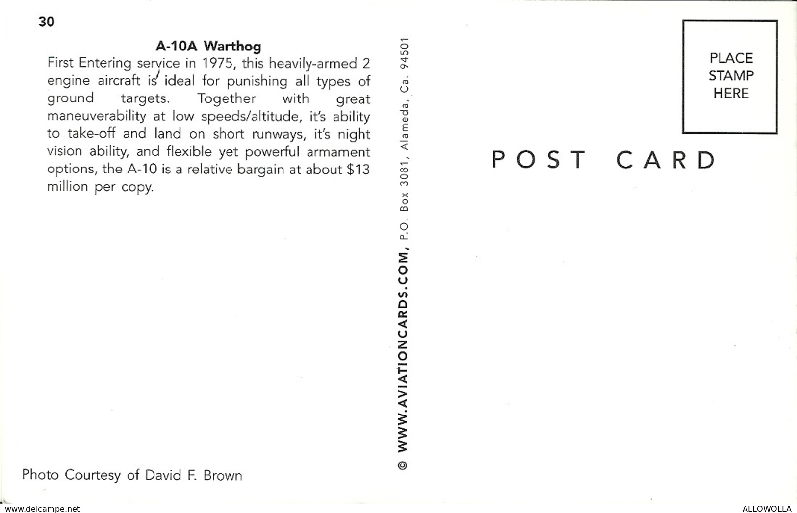 "3508 "" A-10A WARTHOG "" CART. POST. ORIG. NON SPED. - 1946-....: Era Moderna"
