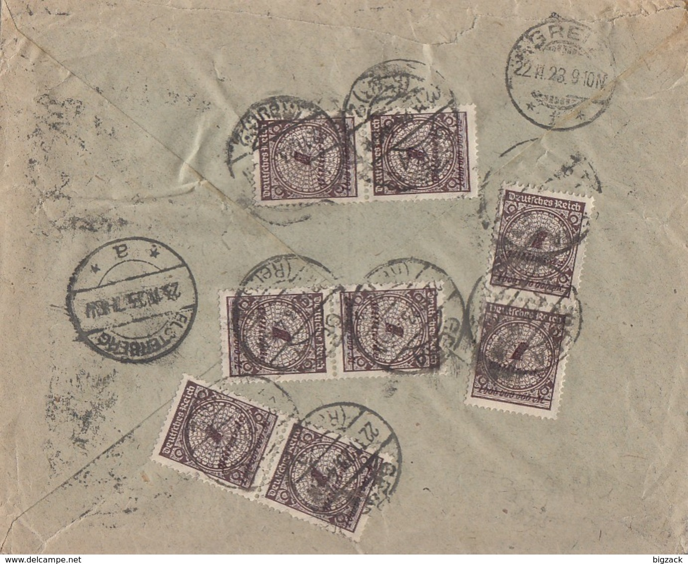 DR R-Brief Mif Minr.8x 325A, 4x 328 Gera 22.11.23 Gel. Nach Elsterberg - Briefe U. Dokumente