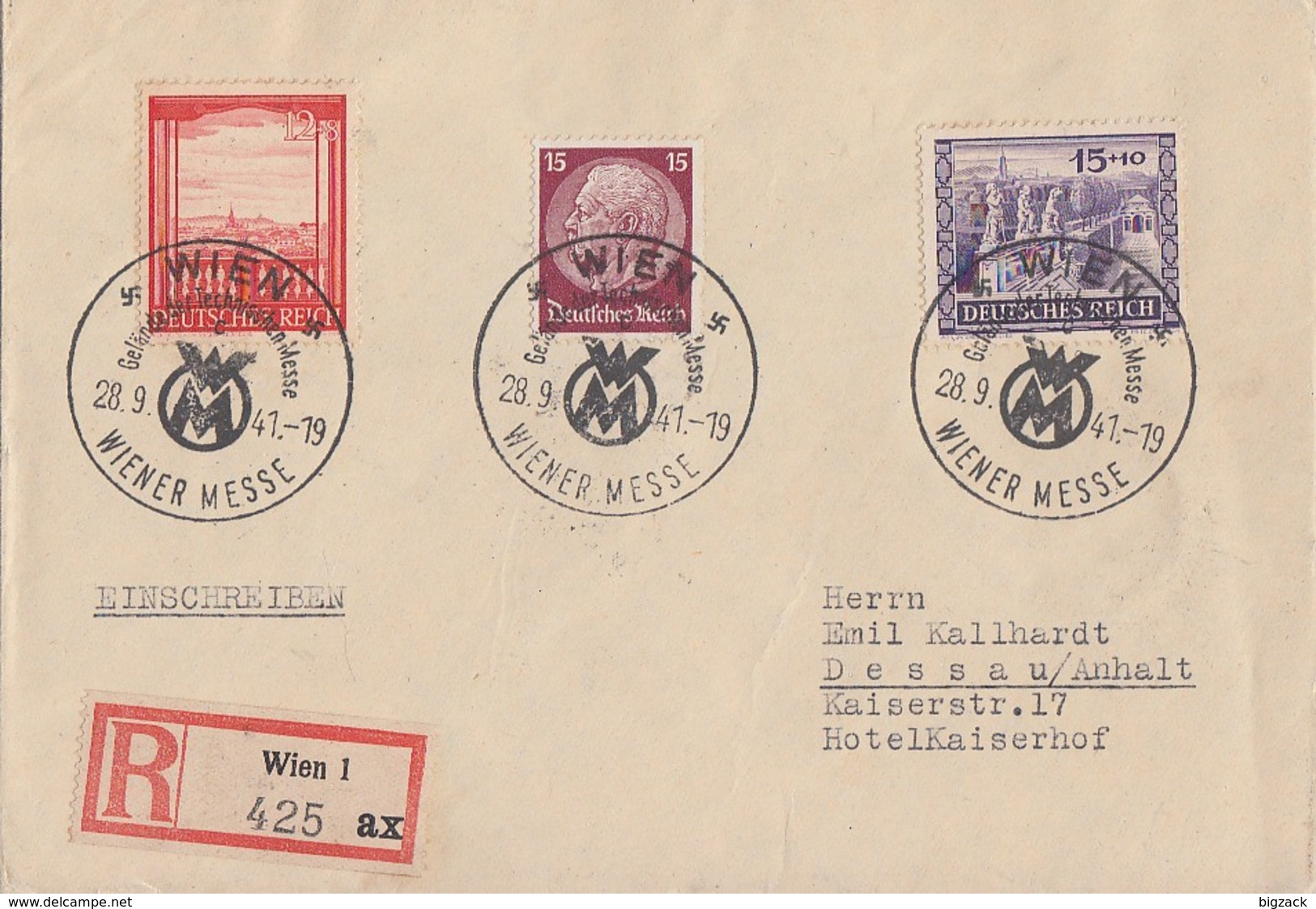 DR R-Brief Mif Minr.520,804,805 SST Wien 28.9.41 Gel. Nach Dessau - Germany