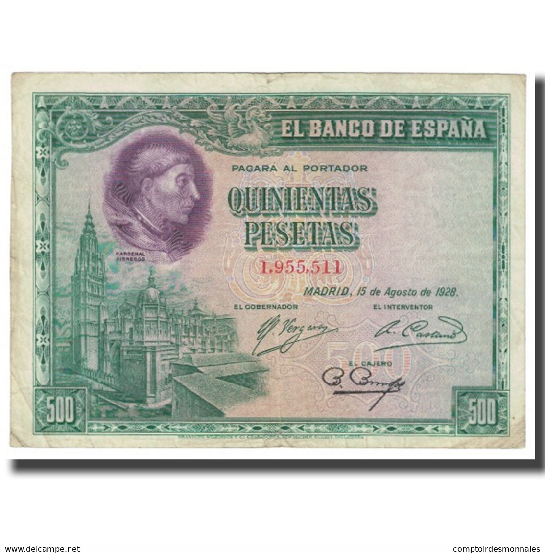 Billet, Espagne, 500 Pesetas, 1928, 1928-08-15, KM:77a, TTB - 500 Pesetas