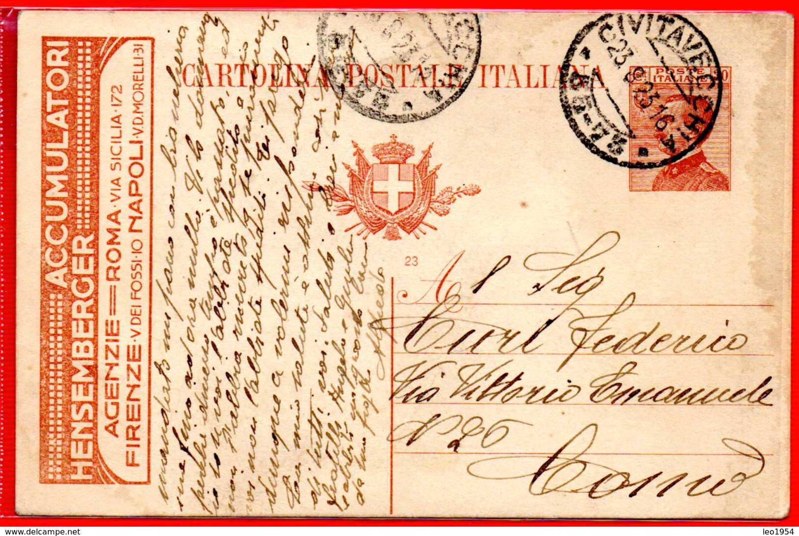 1923 - RARA CARTOLINA POSTALE PUBBLICITARIA ACCUMULATORI HENSEMBERGER - INTERO POSTALE - Interi Postali