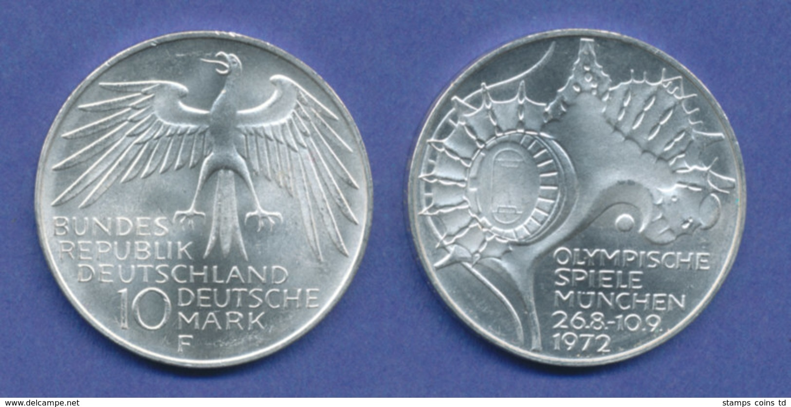 Olympische Spiele 1972, 10DM Silber-Gedenkmünze Olympiastadion  -  F - [ 7] 1949-… : RFA - Rep. Fed. Tedesca