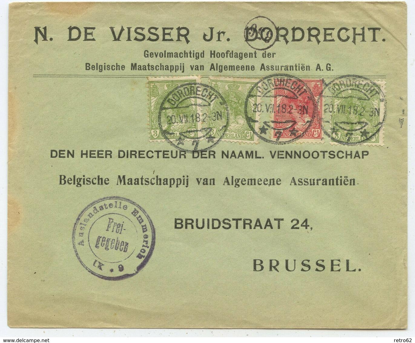 Niederlande Zensur Brief Dordrecht Brüssel Belgien 1918 - 1891-1948 (Wilhelmine)